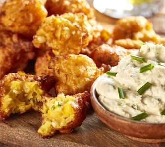 Corn Fritters with Ricotta Roasted Garlic and Parsley Dipping Sauce