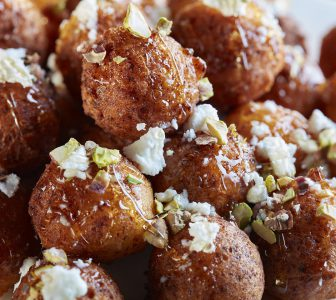 Ricotta Donut Holes with Honey, Feta and Pistachios